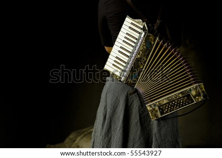 Beautiful vintage accordion on woman's back
