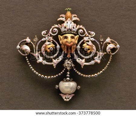 Beautiful vintage and very special  brooch on black - stock photo