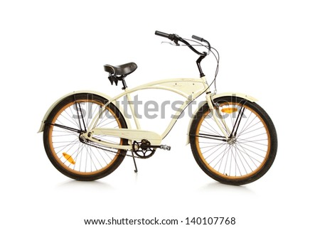 beautiful vintage bicycle on white background
