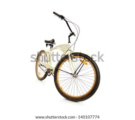 beautiful vintage bicycle on white background - stock photo