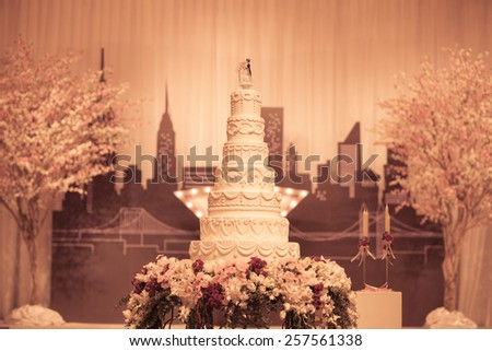 Beautiful vintage Cake decorate for Wedding Ceremony - stock photo