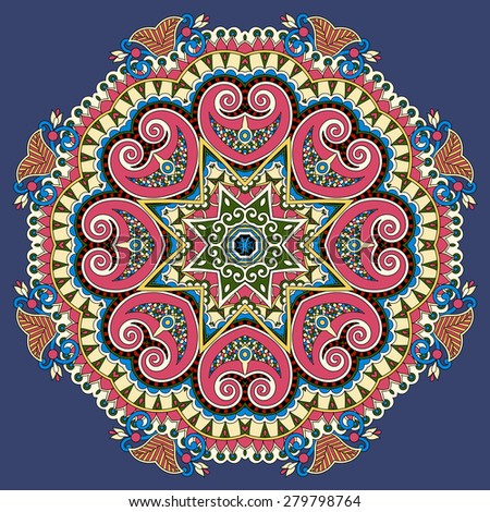 beautiful vintage circular pattern of arabesques, floral round  raster version illustration on dirty dark blue background - stock photo