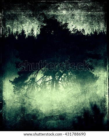 Beautiful Vintage Grunge  Landscape With Mystical Tree. Abstract background