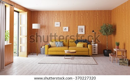 beautiful vintage interior. wooden walls concept. 3d rendering - stock photo
