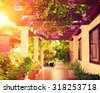 Beautiful vintage landscaped terrace of a house with flowers. Interior of cozy veranda with beautiful plants. Vintage style. Garden. Beauty hotel Courtyard in Mexico over sunset. Vacation - stock photo