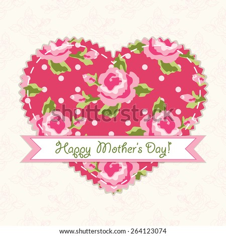 Beautiful vintage Mother's Day card with patch fabric applique of heart in shabby chic style - stock photo