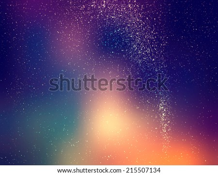 Beautiful vintage night sky illustration with stars and Milky Way - stock photo