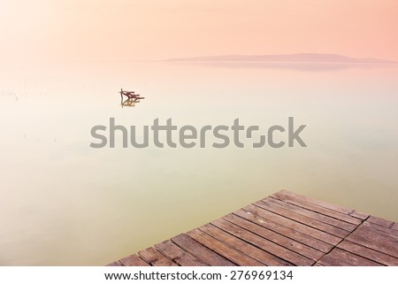 Beautiful vintage picture of Lake Balaton - stock photo