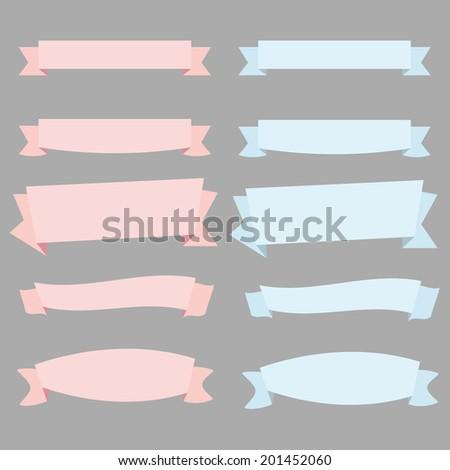 Beautiful vintage ribbon & banners set on gray background - flat design - stock photo