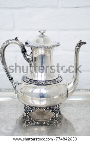 beautiful vintage silver plate teapot for antique store or home  sc 1 st  Shutterstock & Beautiful Vintage Silver Plate Teapot Antique Stock Photo 774842650 ...