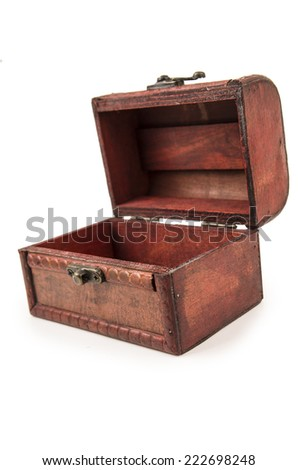 beautiful vintage wooden treasure chest toy open isolated on white - stock photo