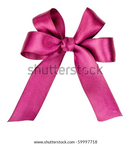Beautiful violet bow on white - stock photo