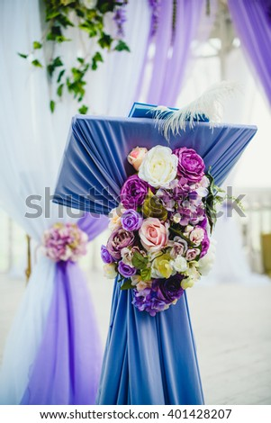 Beautiful violet floral decoration for wedding