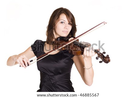 beautiful violinist isolated on white - stock photo