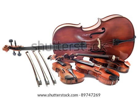 beautiful violins isolated on a white background and cello - stock photo