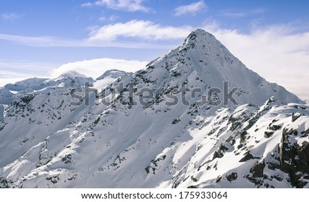 beautiful vista of snow covered mountain peaks and rocks