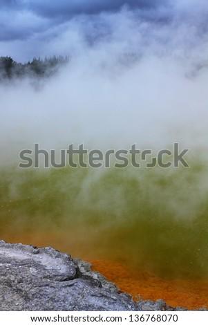 Beautiful volcanic hot spring in Rotorua, New Zealand - stock photo