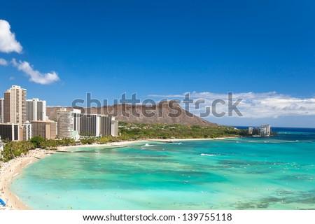 beautiful waikiki beach in tropical hawaii - stock photo