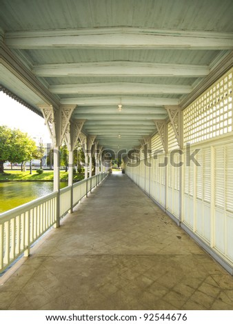 Beautiful walkway at Bang Pa-In Palace, Thailand - stock photo