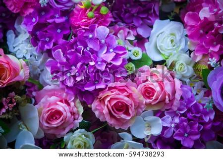 beautiful wall made violet purple flowers stock photo 594738293, Ideas