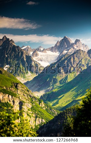 Beautiful walley in Caucasus mountains in Upper Svaneti, Georgia - stock photo