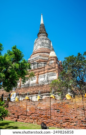 Beautiful wat yai chai mongkhon temple in ayutthaya Thailand