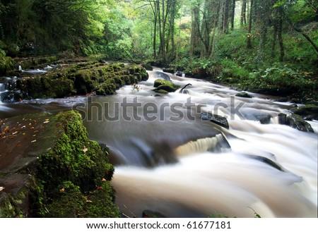 Beautiful water cascade in Clare Glens, Ireland - stock photo