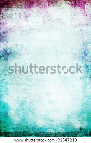 beautiful water color on vintage paper textured background with pink and aqua - stock photo