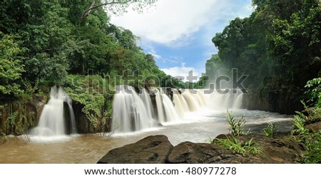 Beautiful water fall, Tad pha suam waterfall, Champasak, southern Laos