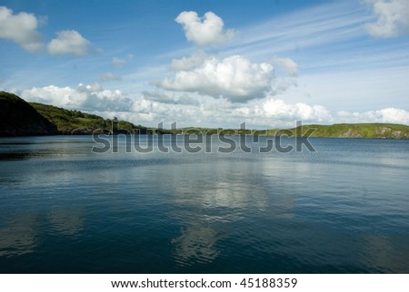 Beautiful water landscape as background with clouds reflected