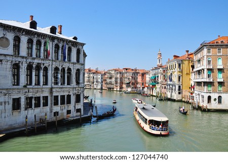 Beautiful water street - Grand Canal in Venice, Italy. - stock photo