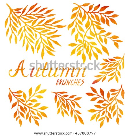 Beautiful watercolor autumn branches and leaves, isolated on white background. Floral elements for invitations, cards and posters.