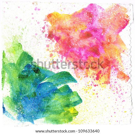 Beautiful watercolor background with brush splatters- Great for textures and backgrounds for your projects! - stock photo