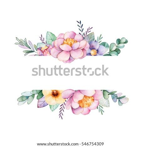 Beautiful Watercolor Border Frame With Peonyflowerfoliagebranches And GemstonesHandpainted