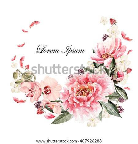 Beautiful watercolor card with Peony, orchid, roses flower and berries. Wedding wreath. - stock photo