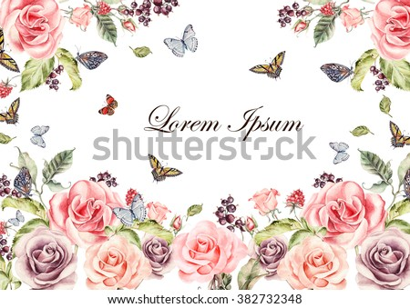Beautiful watercolor card with roses flowers and berries. Butterflies and plants.  Illustration - stock photo