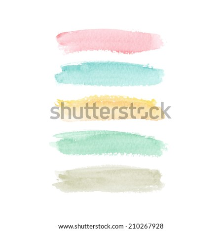 Beautiful watercolor elements for design. Pastel colors - stock photo