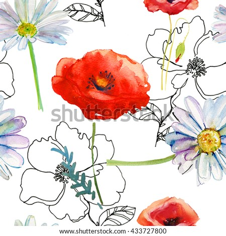 Beautiful Watercolor floral garland.  Poppy and daisy flowers. Seamless pattern.