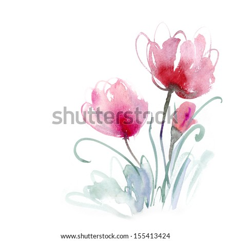 Beautiful watercolor flowers - stock photo