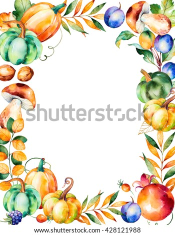 Beautiful watercolor frame border with with fall leaves,branches,berry,blackberry,mushroom,pumpkins,walnut,pomegranate,prunes and more.Autumn harvest frame with place for your text.For your create - stock photo