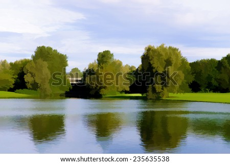 Beautiful watercolor painting of a peaceful lake - stock photo