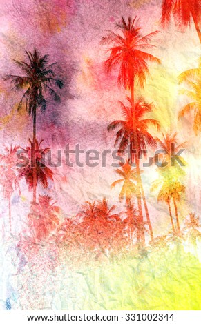 Beautiful watercolor palm trees in a tropical garden - stock photo