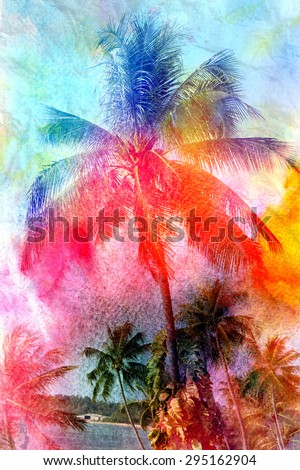 Beautiful watercolor palm trees in Asia on the tropical island - stock photo