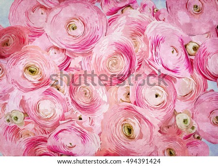 Beautiful watercolor pink roses on blue background