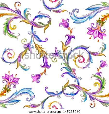 beautiful watercolor seamless pattern, floral ornamental background, isolated on white - stock photo