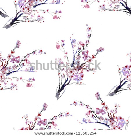 Beautiful watercolor seamless pattern with sakura flowers and lines - stock photo