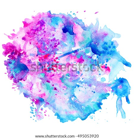 beautiful watercolor splash,abstract painting, blue and pink colors