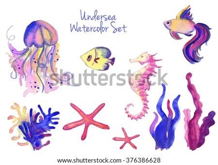 Beautiful watercolor vibrant set of underwater life - stock photo