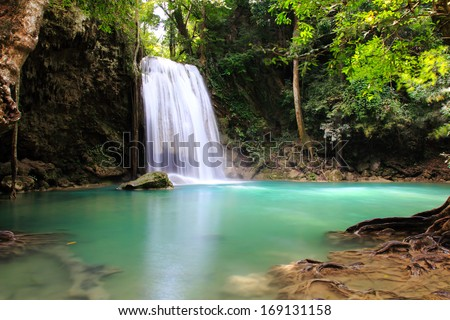 Beautiful Waterfall at Erawan National Park in Kanchanaburi ,Thailand.