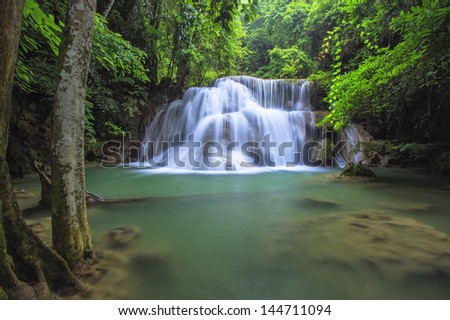 Beautiful waterfall at Huay Mae Kamin National Park Kanchanaburi Province, Thailand